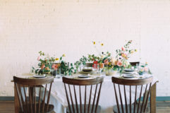 wedding tablescape with high back spindle chairs