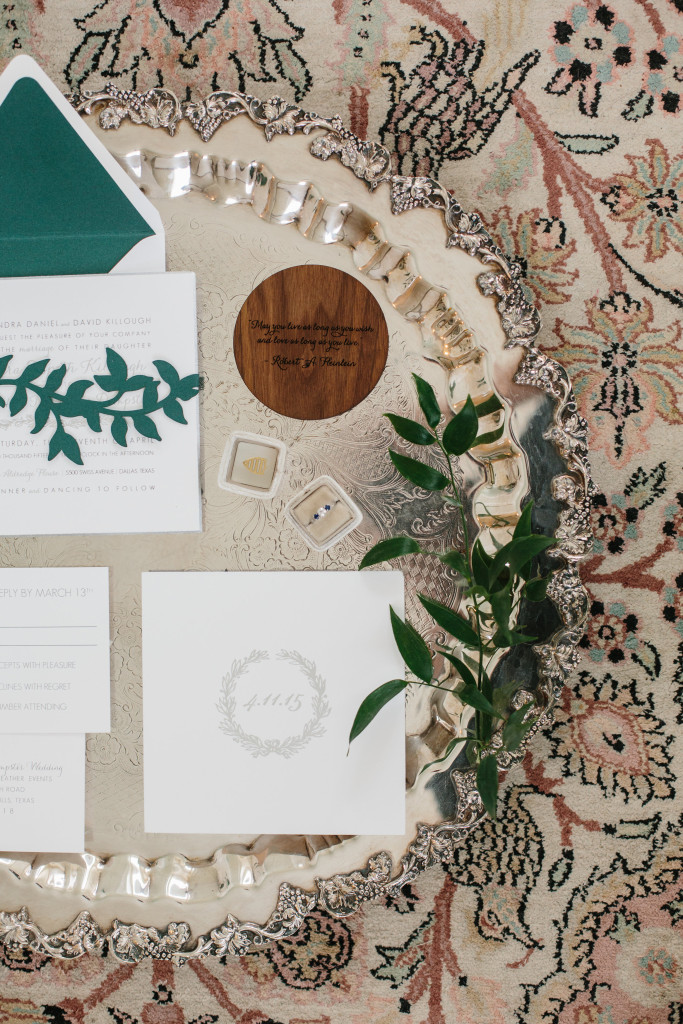Custom wedding invitation suite designed by Southern Fried Paper