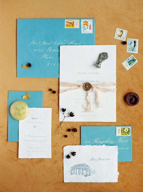 top 5 custom invitation suites from 2017. Austin wedding invitation by Letter Love Studio with mustard and sage styled by Birds of a Feather Events