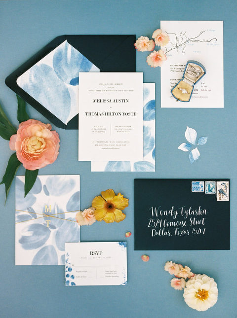 top 5 custom invitation suites from 2017. White Sparrow Barn wedding invitation with blue water color styled by Birds of a Feather Events