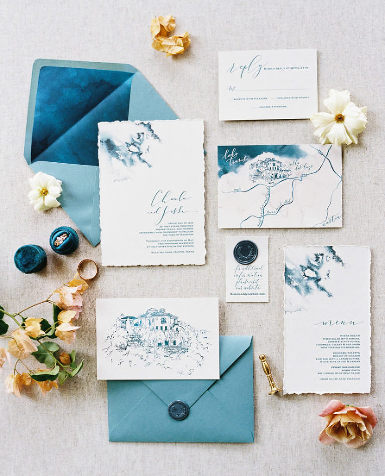 TOP 5 Custom invitation suites from 2017. Blue ink bleed invitation by Southern Fried Paper styled by Birds of a Feather Events